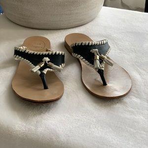 Jack Rogers tassel flat sandals navy/white size 6
